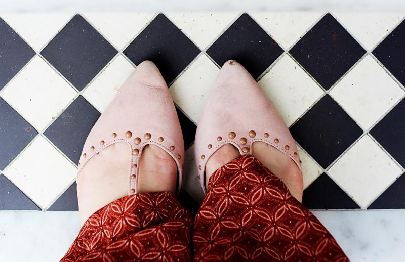 Boden studded flats pink