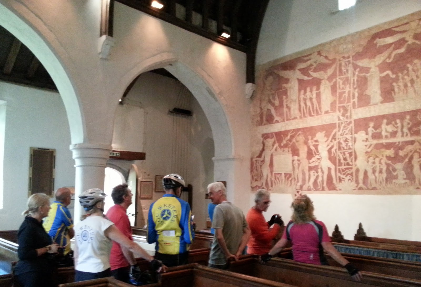 Midweek wayfarers ctc b ride 26 june 2013 for Chaldon church mural