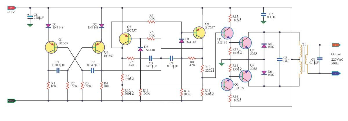 Super Circuit Diagram 100w Inverter 12v To 220v Circuit Diagram
