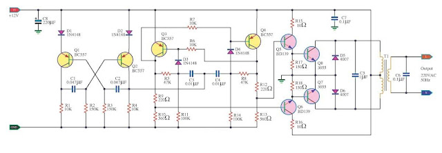 Build a100W Inverter 12V to 220V Circuit Diagram