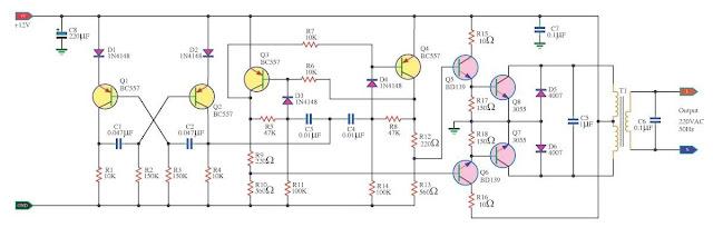 Build a100W Inverter 12V to 220V Circuit Diagram