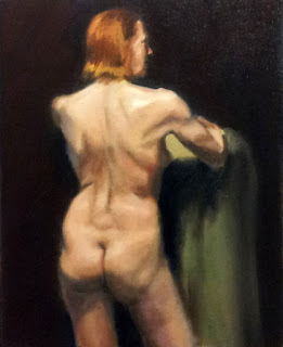 Oil painting of a standing female nude viewed from behind.