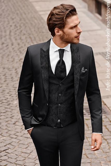 Bräutigam Anzug Slim, tailiert modern und jung. Kragen Revers mit Muster.