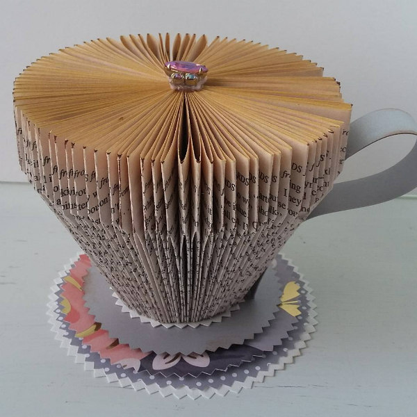 Folded Book Teacup with Jewel Top and Patterned Paper Saucer