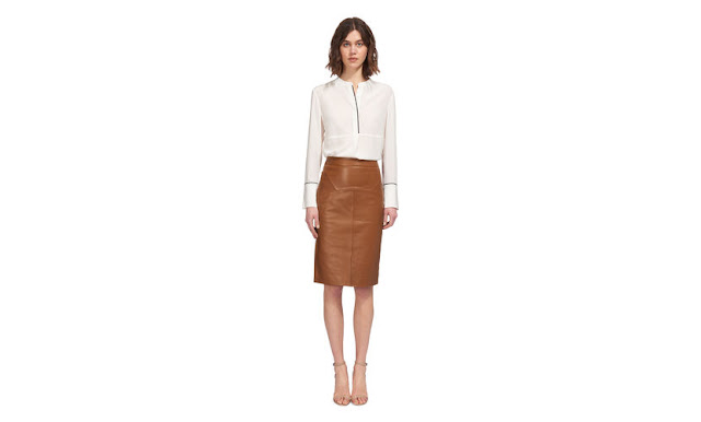 whistles tan leather skirt, whistles kel leather skirt, whistles brown leather skirt, brown leather pencil skirt,