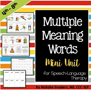 Multiple Meaning Words - Mini Unit for Speech Language Therapy