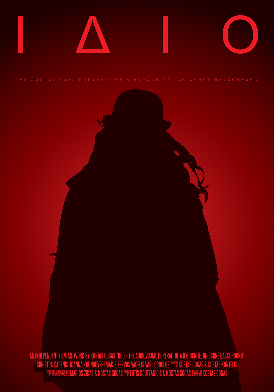 Second Official Poster for Kostas Gogas film 'IDIO - the Audiovisual Portrait of a Hypocrite' featuring the silhouette of the Jeremy character on a red background.