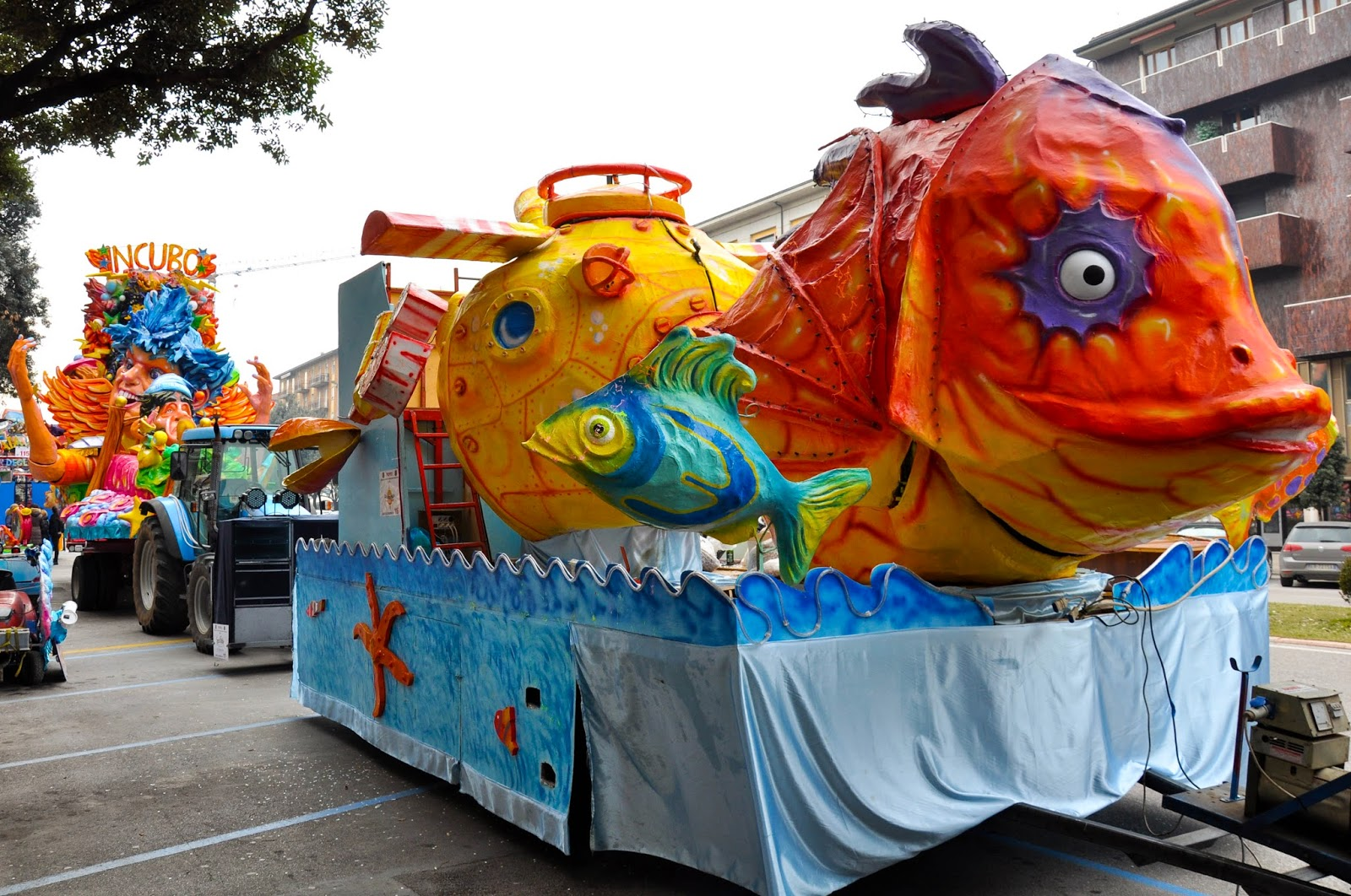 A sealife themed float waits for the parade at Verona Carnival to start
