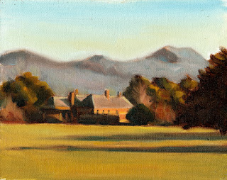 Oil painting of a red brick house surrounded by trees with a small mountain range in the distance.