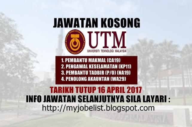 Jawatan Kosong Universiti Teknologi Malaysia (UTM) April 2017