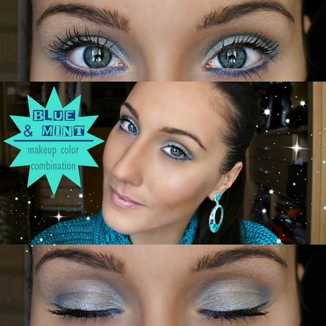 BLUE & MINT: Makeup Color Combination (video tutorial). Best makeup color combinations. Blue eye makeup, Youtube video tutorial. Jelena Zivanovic Youtube.