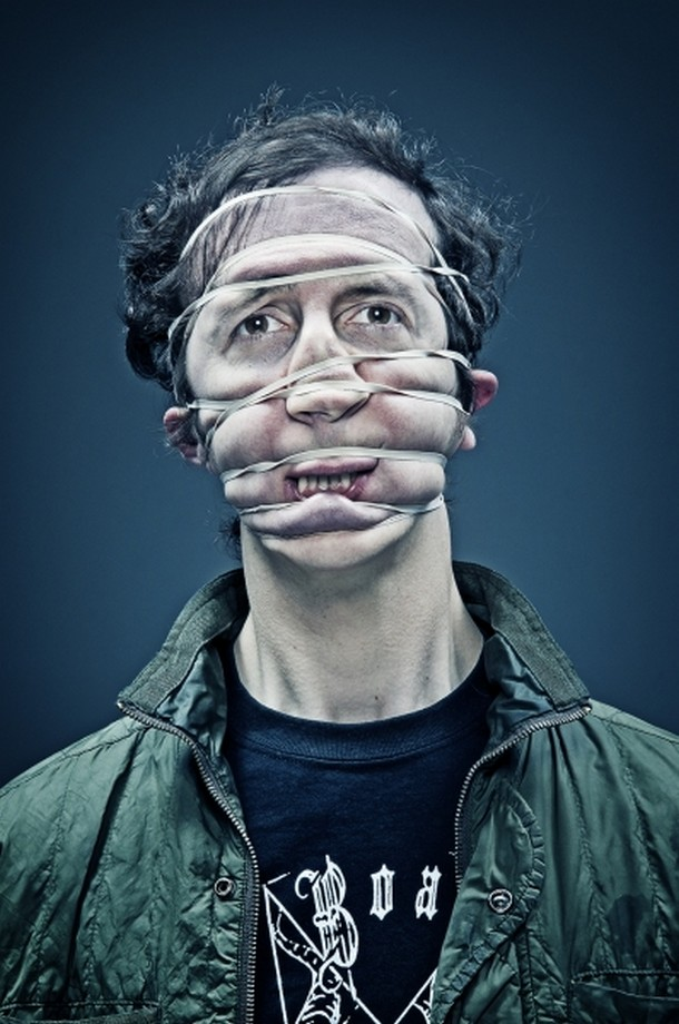 distorted portraits of people