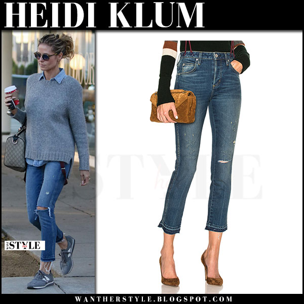 Heidi Klum in grey sweater, ripped jeans amo babe and grey sneakers new balance 501 what she wore