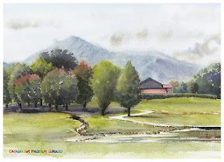 水彩画 美術館の庭