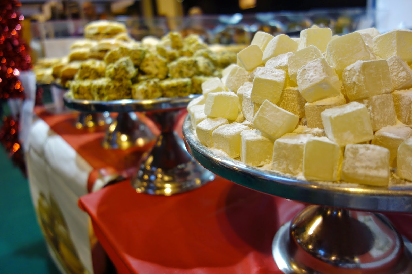 Rows of turkish delight displayed at the Good Food Show Winter