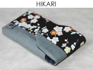 Handytasche Hikari aus japanischen Stoffen von Noriko handmade, handgemacht, Einzelstück, Unikat, Design, Handyhülle, Klettverschluss