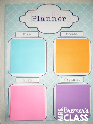 FREE sticky note planner for teachers
