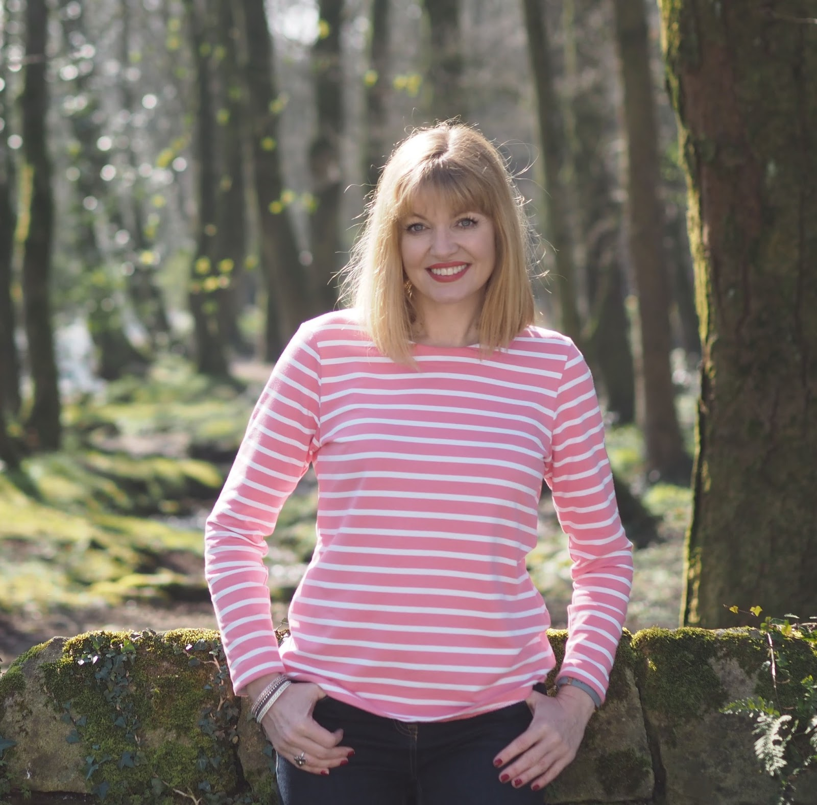 What Lizzy Loves wearing pink and white striped Tulchan top, photographed in Malham