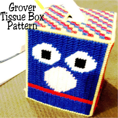 Decorate your Sesame Street nursery with this Grover plastic canvas tissue box pattern.  Simply sew the top and sides for a fun decoration.