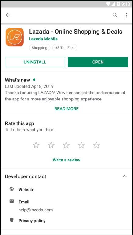 Update Atau Install Ulang Aplikasi Lazada di Playstore Pada Smartphone.
