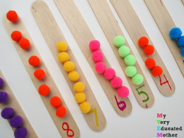 Make 7 Busy Bags Using Craft Sticks: Counting Pom Poms