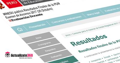 MINEDU publicó Resultados Finales de la PUN - Examen de Ascenso 2017 (25 Octubre)