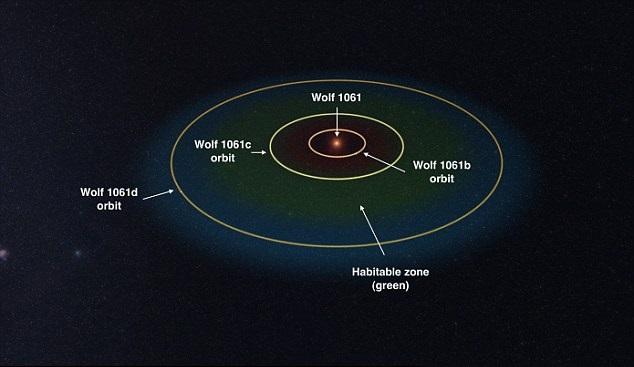 Mô phỏng quỹ đạo của ba hành tinh trong hệ hành tinh Wolf 1061. Hình ảnh: Đại học New South Wales.