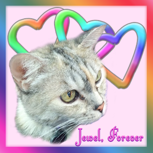 "A badge featuring Jewel with rainbow hearts. It says, ""Jewel Forever."""