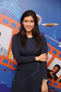 Actress Mannara Chopra Stills in Blue Short Dress at Rogue Song Launch at Radio City 91.1 FM  0047.jpg