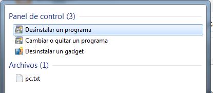 clic sobre la opción desinstalar un programa