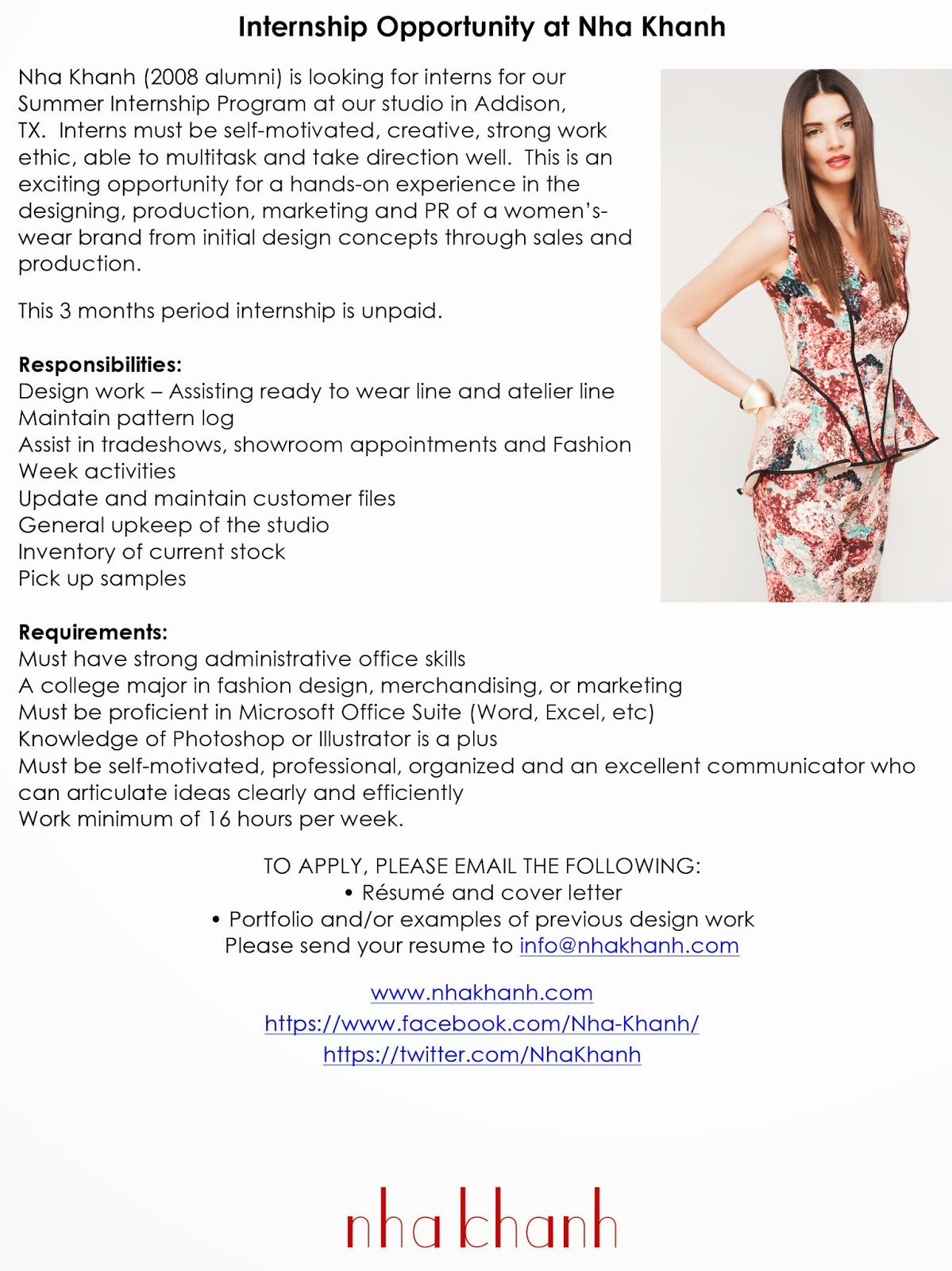 Internship Opportunity At Nha Khanh Fashion Design