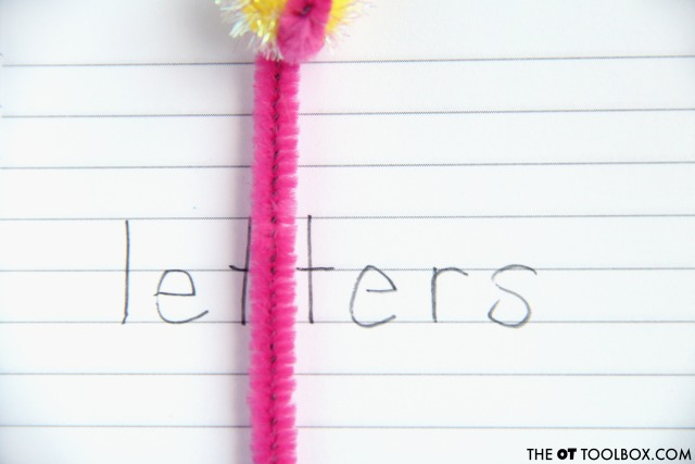 Work on spacing between letters and words using a pipe cleaner spacing tool that improves handwriting in kids.