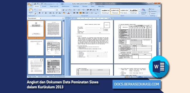 Contoh Angket dan Dokumen Data Peminatan Siswa dalam Kurikulum 2013