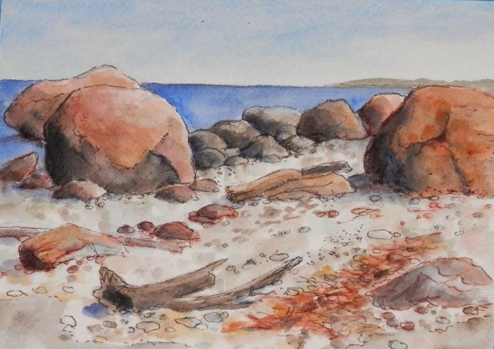 Watercolors By Joan 2 Beach Rocks Lighthouse