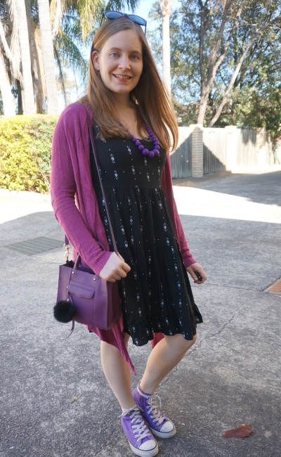 little black dress with purple cardigan accessories Converse high tops | AwayFromBlue