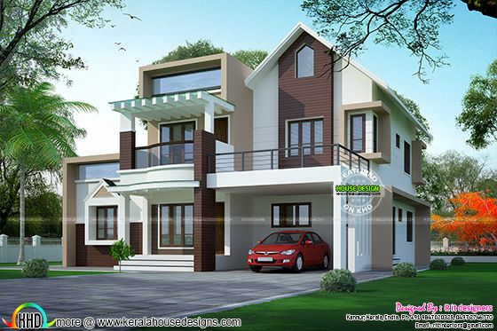 Kerala home design and floor plans 310 sq yd contemporary for Sloped roof house plans in india