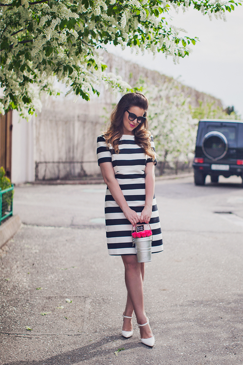 ASOS Stripe A-line Dress in Structured Fabric