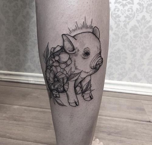 hình xăm heo con cực dễ thương và ý nghĩa - tattoo the pig ideas