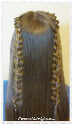 Double lace braid hairstyle tutorial. Cute for school.
