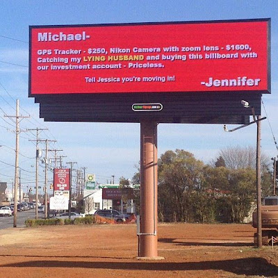 Billboard on Battleground Avenue, Michael, Jennifer, Jessica, cheating heart, marriage, infidelity, Chad Tucker, WGHP, Fox 8