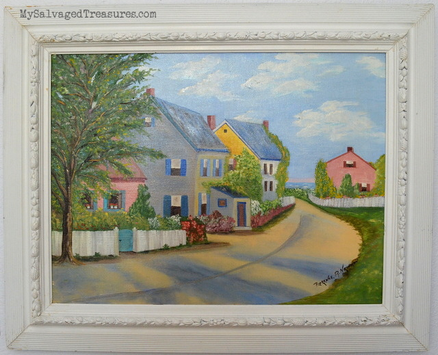 New England vintage oil painting seaside town