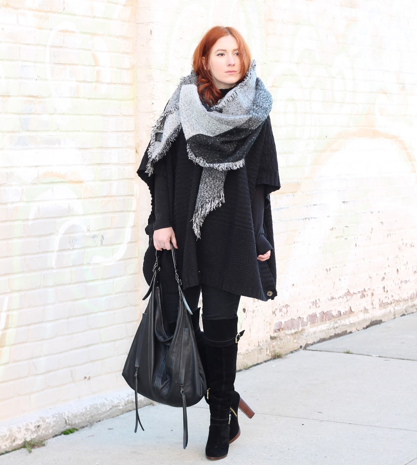 blanket scarf, black on black, winter layering, fashion style, winter, blanket scarf style, how to wear a blanket scarf, kooba bags, how to wear a poncho, poncho style