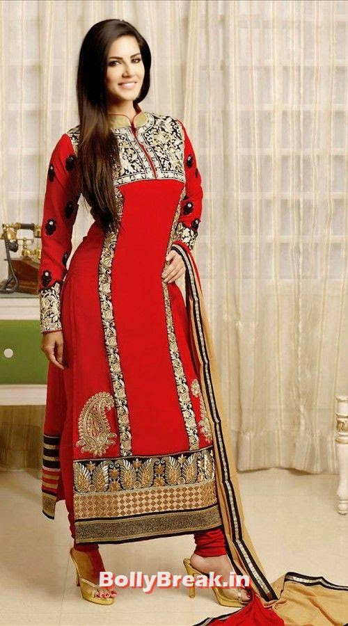Sunny Leone hot figure in in red Anarkali suit, Sunny Leone Anarkali Churidar Pics, Sunny Leone in Indian Clothes