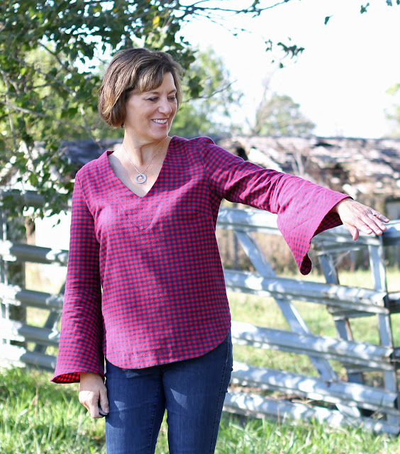 Megan Nielsen Dove in navy and red plaid all from Indiesew - bell sleeves