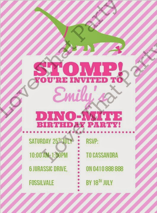 Love this pink and pretty girl's dinosaur party invitation. It is personalised withyour choice of wording and emailed to you for printing. So easy! From Love That Party: http://lovethatparty.bigcartel.com/product/girl-dinosaur-stomp-party-printable-birthday-invitation