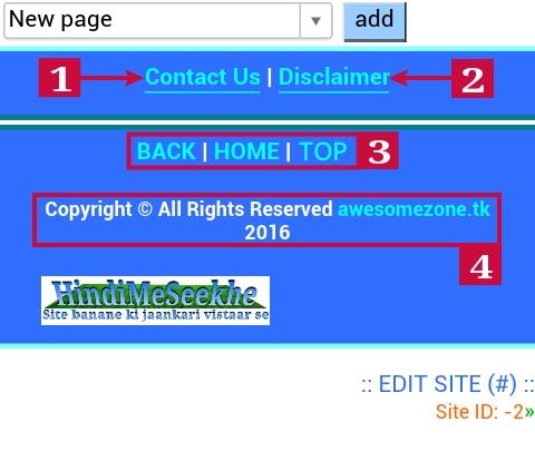 Wapka website footer page design design kaise kare. 3