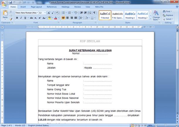 Contoh Format Surat Keterangan Kelulusan SD MI SMP MTs SMA MA SMK MAK