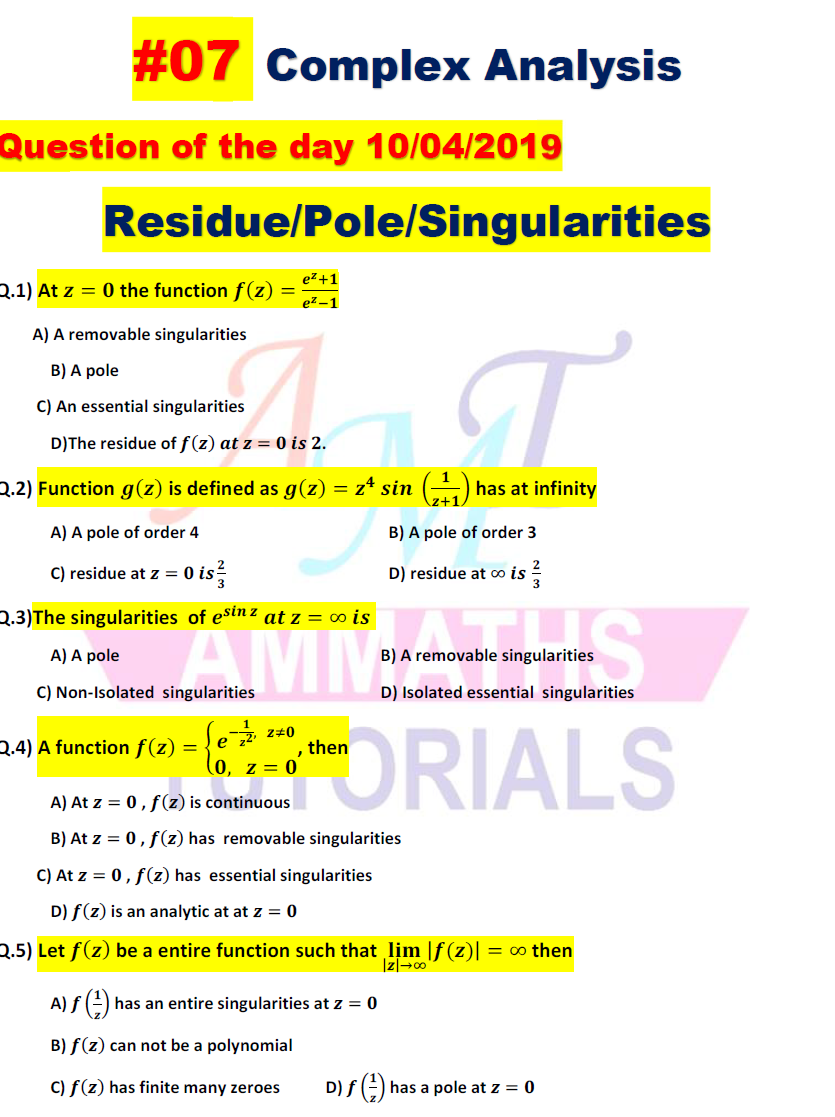 AMMATHS TUTORIALS : #07 COMPLEX ANALYSIS - Question of the