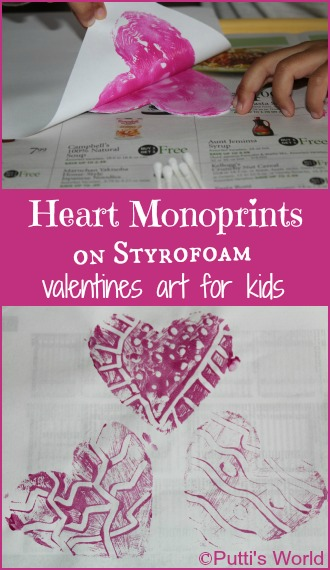 Print making with kids Valentine Heart Monoprints on Styrofoam