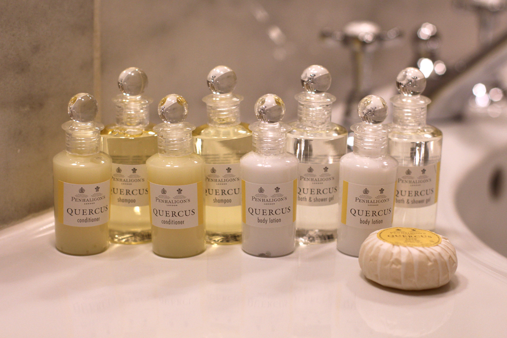 Penhaligon's Quercus toiletries at Rushton Hall, Northamptonshire - UK luxury travel blog